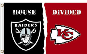 Oakland Raiders vs Kansas City Cheifs Divided Flag