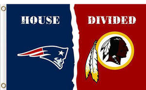 New England Patriots vs Washington Redskins Divided Flag