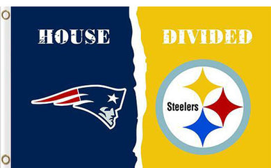 New England Patriots vs Pittsburgh Steelers Divided Flag