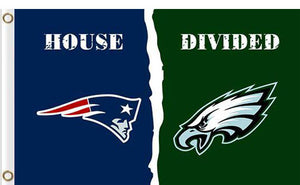 New England Patriots vs Philadelphia Eagles Divided Flag