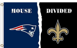 New England Patriots vs New Orleans Saints Divided Flag