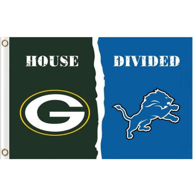 Green Bay Packers AND Detroit Lions House Divided flags 3ftx5ft