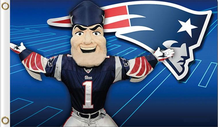 Cartoon New England Patriots Flag Football Banner 3x5 FT