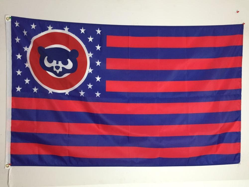Chicago Cubs with Star and Stripe 3x5FT