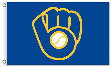 Milwaukee Brewers Glove Blue Banners Flags 3x5ft