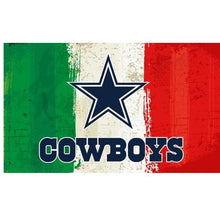 Load image into Gallery viewer, Green white red Stripes Dallas Cowboys flags 3ftx5ft