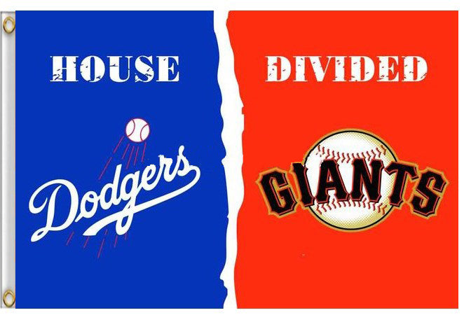 Los Angeles Dodgers Vs San Francisco Giants House Divided Flag 3ft X 5 Mondour