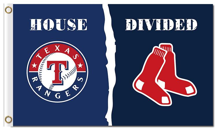 Texas Rangers VS Boston Red Sox House Divided flags 3ftx5ft