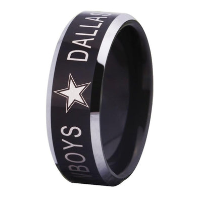 8MM Black Tungsten Dallas Cowboys Championship Ring