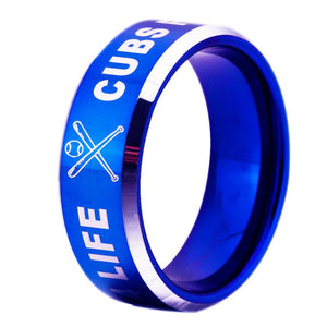 8MM Blue Tungsten Cubs Fan for Life Championship Ring