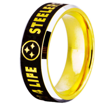 8MM Gold Tungsten Pittsburgh Steelers Championship Ring