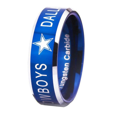 8MM Blue Tungsten Dallas Cowboys Championship Ring