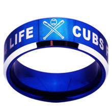 Load image into Gallery viewer, 8MM Blue Tungsten Cubs Fan for Life Championship Ring