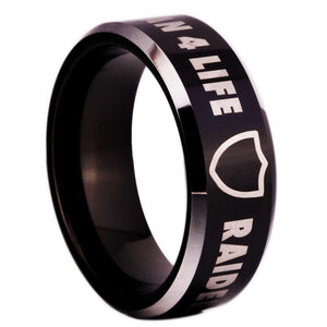 8MM Black Tungsten Oakland Raiders Championship Ring