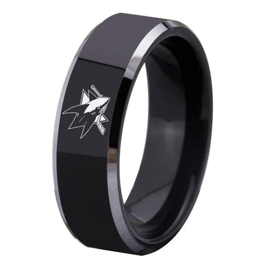 8MM Black Tungsten San Jose Sharks Championship Ring