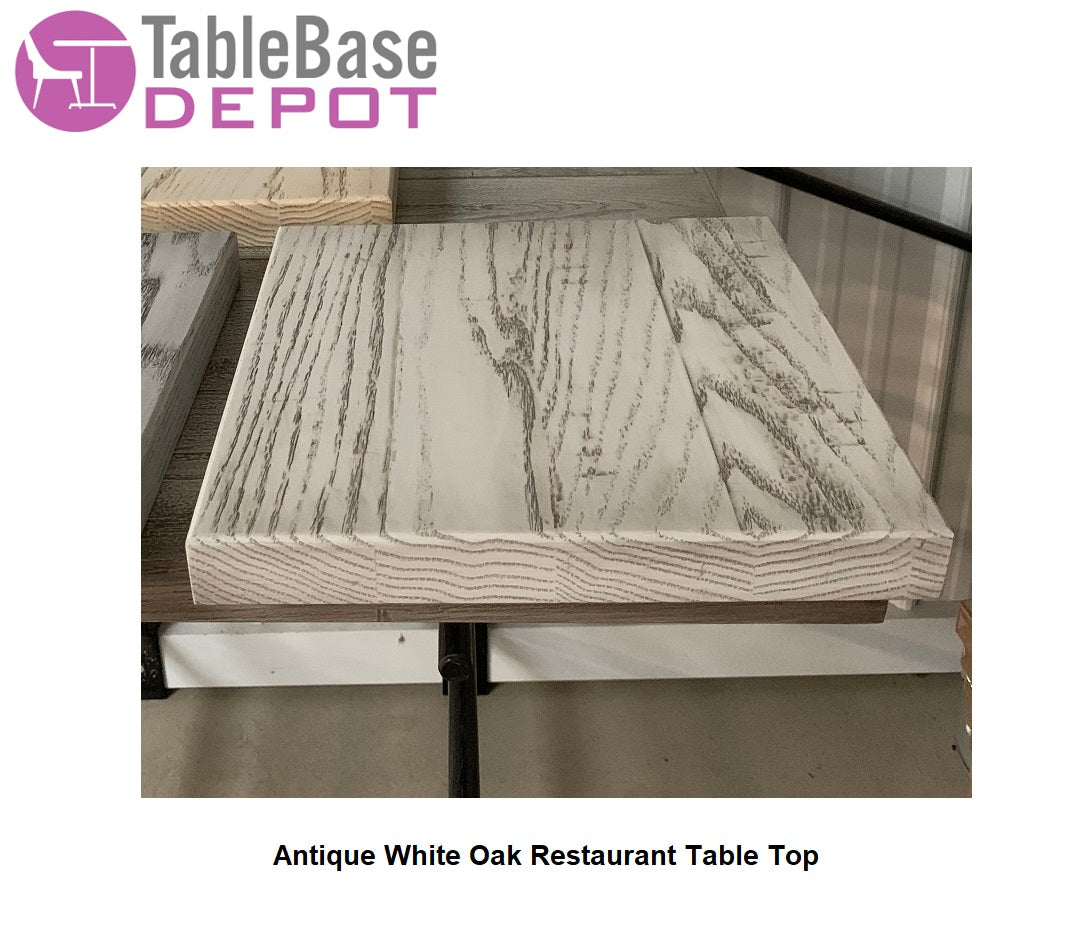 Custom White Wash Antique Finish Restaurant Table Tops