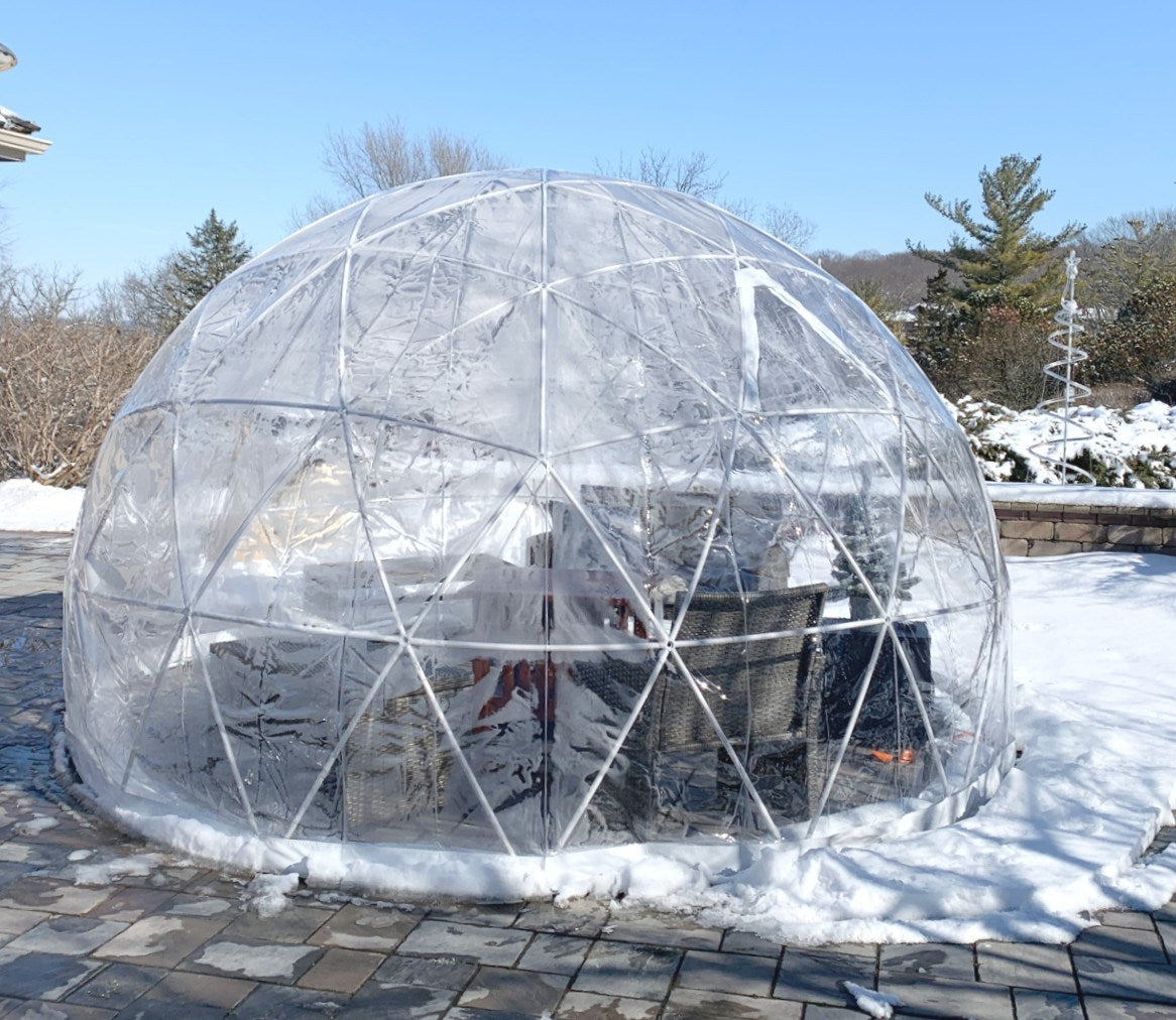 Extra Thick Cold Resistant Clear Cover Geodesic Dining Dome Tent 4M
