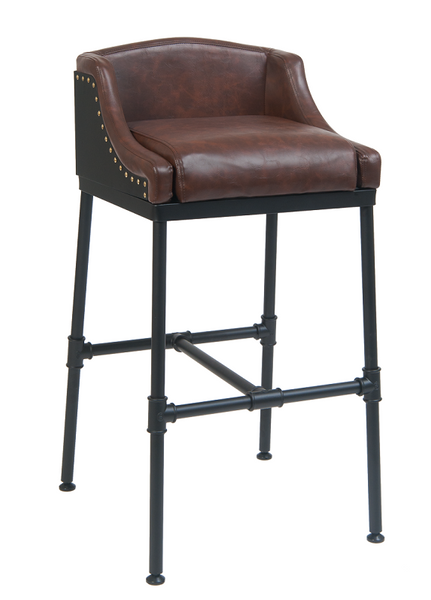 Industrial Pipe Bar Stool Upholstered Brown Vinyl With Brass Studs