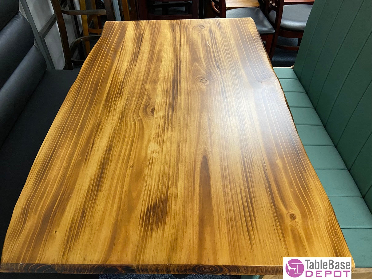 Sherwood Extra Thick Distressed Pine Live Edge Restaurant Table 2.5 Inch