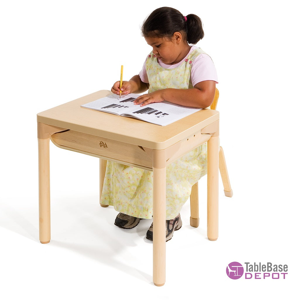 Willowbrook Adustable School Desk Extra Storage Natural Wood Finish