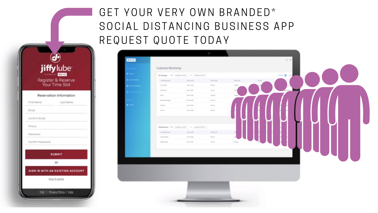 Online Reservation System No Line-Up Branded Social Distance Appointment App For Your Business RSVD