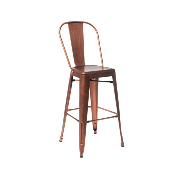 Custom Taw-Nee Copper Finish Highback Tolix Bar Stool