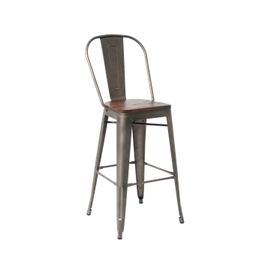 Antique Custom Taupe Finish Dark Wood Seat High Back Tolix Bar Stool