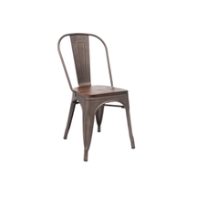 Antique Custom Taupe Finish Dark Wood Seat Tolix Chair