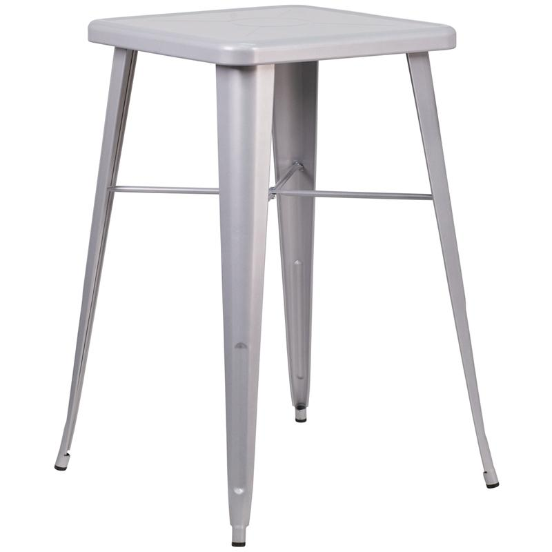Bar Height Silver Galvanized Finish Tolix Table 24