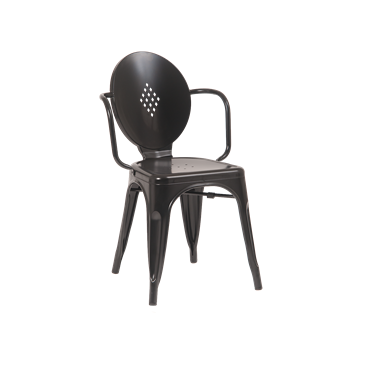 Royce Stackable Oval Back Black Finish Side Chair