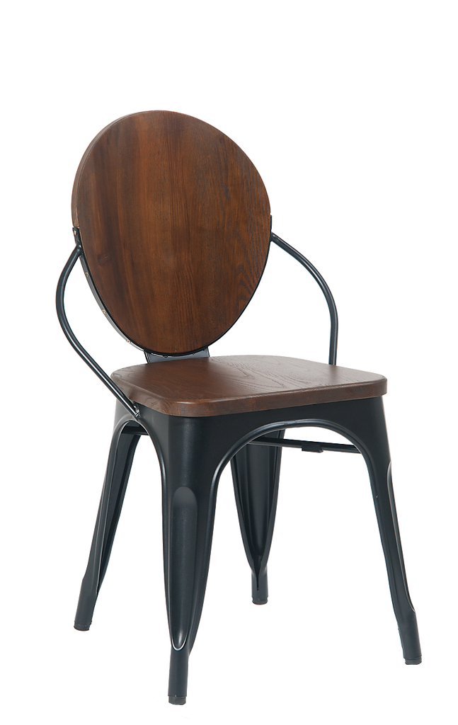 Royce Stackable Oval Back Walnut Finish Side Chair