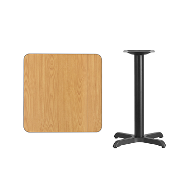 "Square Natural Laminate Table Top 24x24 With 22x22"" Table Base"