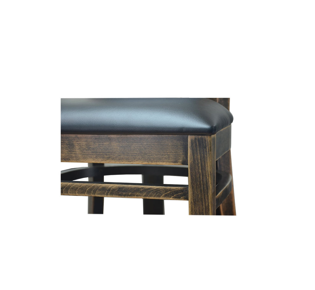 Distressed Black Walnut Finish Wood Restaurant Chairs