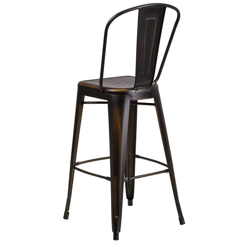 Dark Copper Weathered High Back Tolix Bar Stool