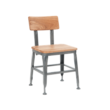 Bulldozer Industrial Steel Chair Wood Seat and Back