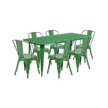 Green Tolix Outdoor Patio Chairs and Table 31.5 x 63 - 7 Piece Set