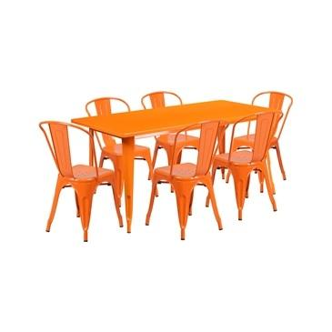 Orange Tolix Outdoor Patio Chairs and Table 31.5 x 63 - 7 Piece Set