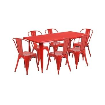 Red Tolix Outdoor Patio Chairs and Table 31.5 x 63 - 7 Piece Set