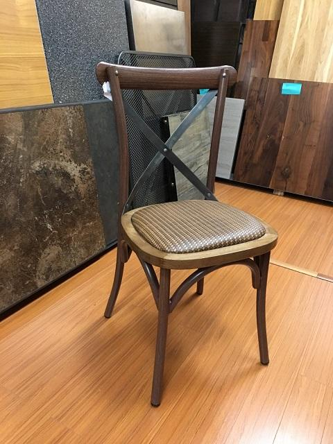 Industrial Metal Cross Back Chair Straw Seat Walnut Finish