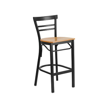 Adelina Black Metal Bar Stool Natural Finish Wood Seat
