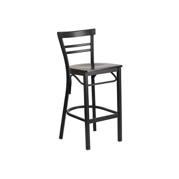 Adelina Black Metal Bar Stool Walnut Finish Wood Seat