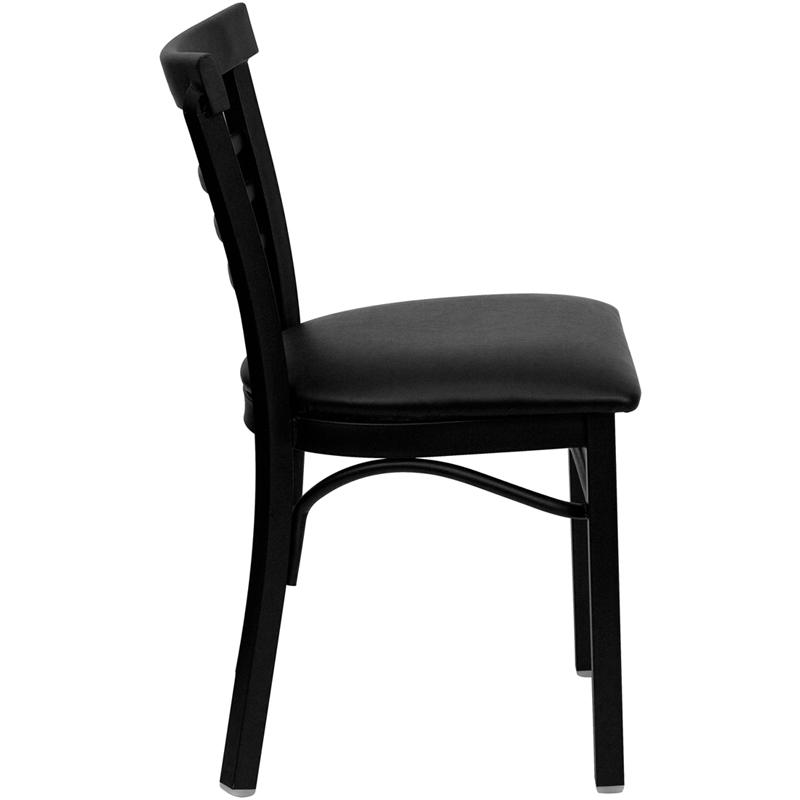 Adelina Black Metal Cafe Chair Black Upholstered Seat