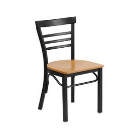 Adelina Black Metal Cafe Chair Natural Wood Seat