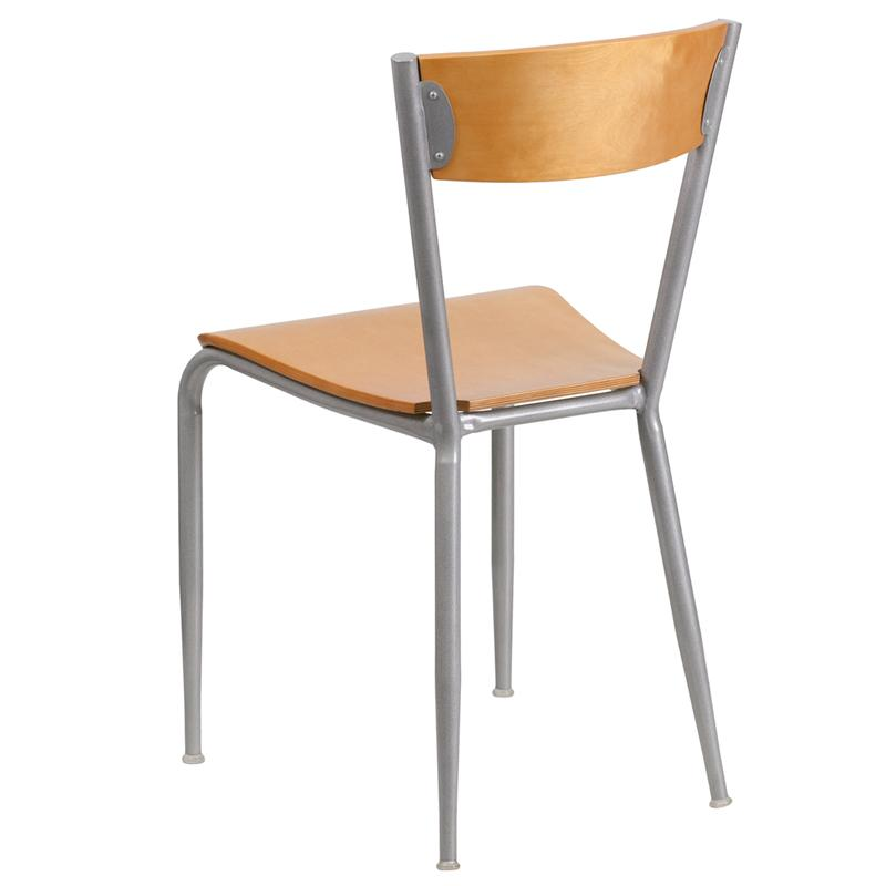 Adona Modern Industrial Metal Side Chair Wood Seat Back