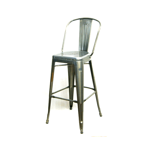 Pewter High Back Tolix Bar Stool