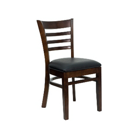 Alina Solid Beech Walnut Finish Ladder Back Chair Vinyl Seat