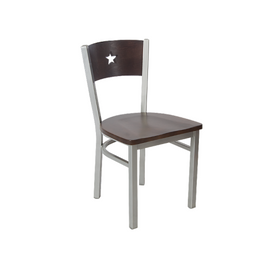 American Star Chair Walnut Finish Wood Seat Back Silver Chair