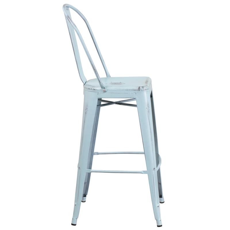 Antique Sky Blue Weathered High Back Tolix Bar Stool Large Seat