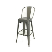 Antique Welded Matte Gun Metal Finish Tolix High Back Bar Stool
