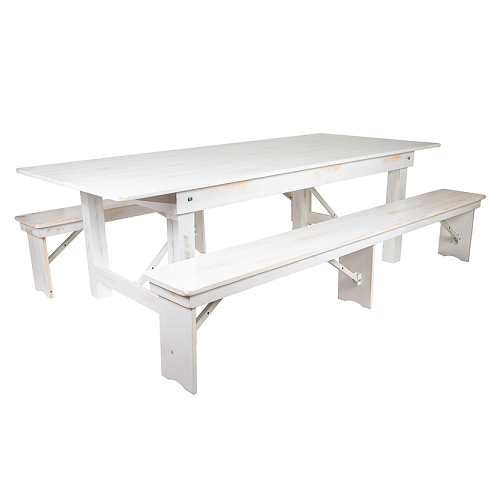 Worn White Heirloom Farm Table With Benches 2 Sizes